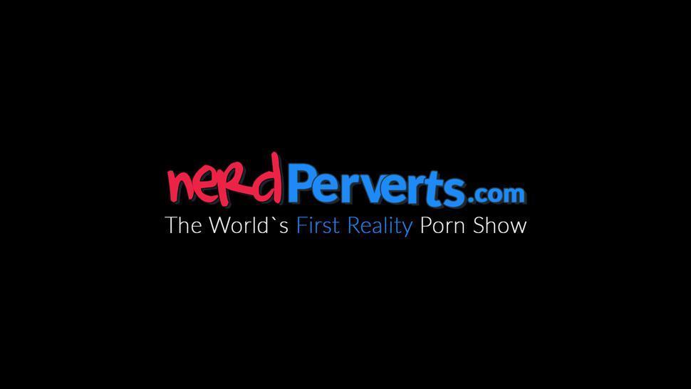 NERD PERVERTS - Busty UK babe Jodie Cummings fake audition wet deepthroat
