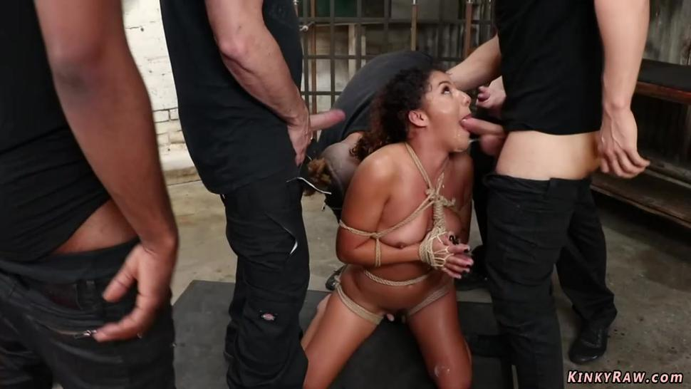 Rope tied sub double penetration fucked