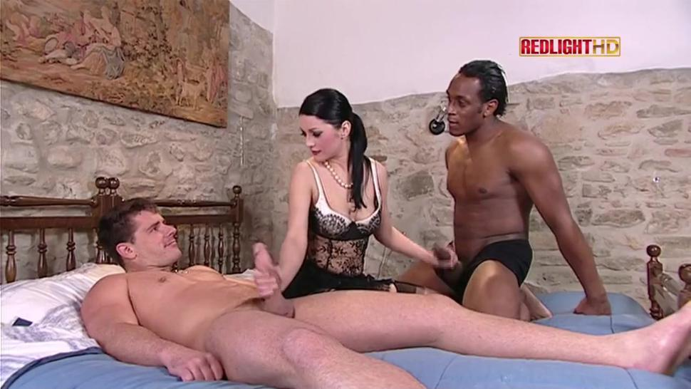 Interracial threesome with lustful brunette