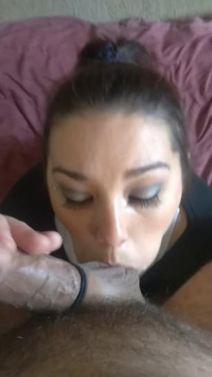 Just a facial - the most MASSIVE facial on a smiling shy wife