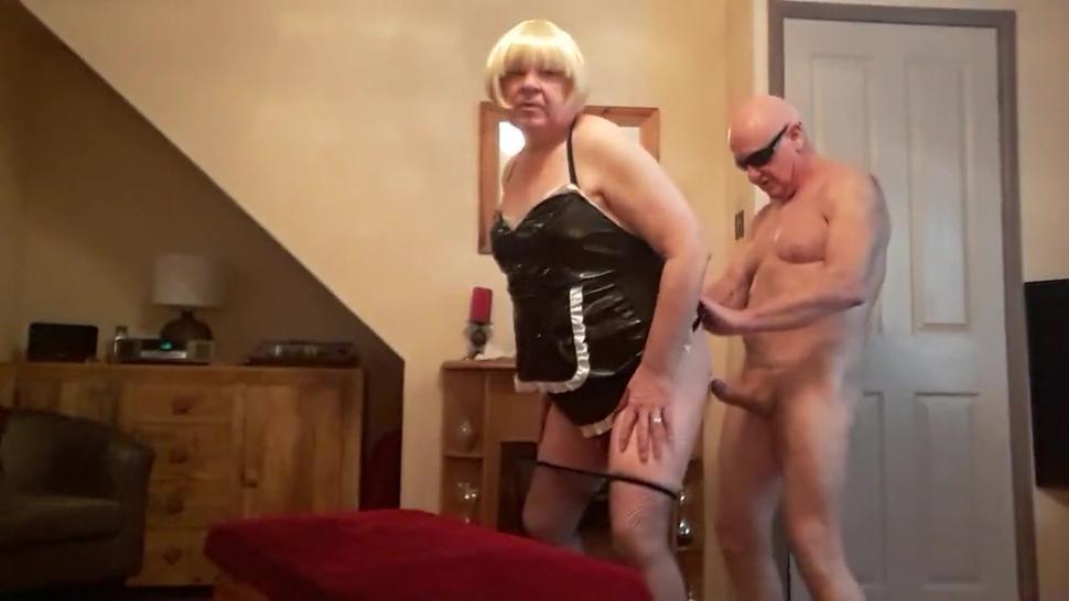 Lovely bald grandpa fucking a cross dresser old chubby man