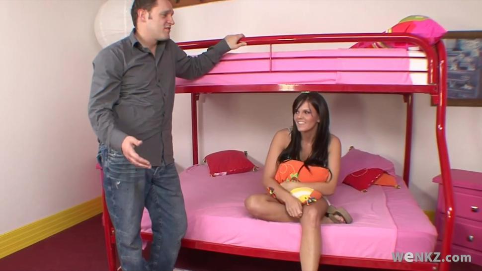 Shy teen Amina gets naughty in dormitory room