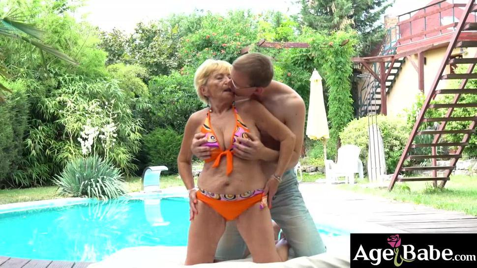 Granny Malya rides and bounce on a young prick