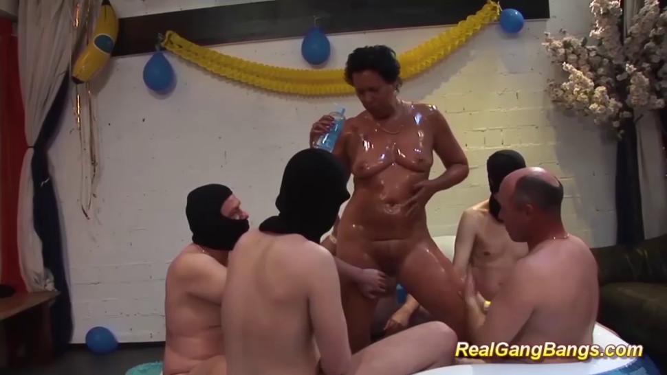 REALGANGBANGS - Horny German grandmas first extreme oiled gang Bang swinger fuck party orgy