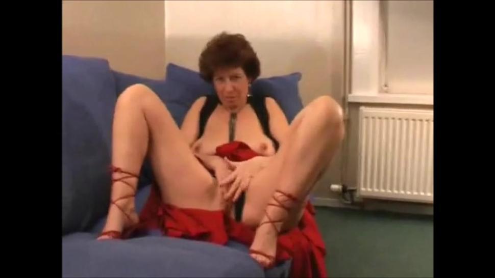 Very hot grandma in high heels masturbating moaning and cum