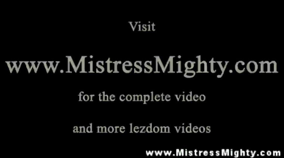 Bound subject teased by lezdom master during session