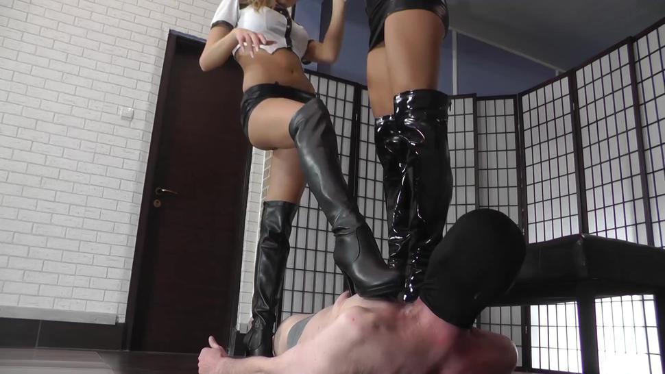 cruel mistresses-two mistresses boot trampling