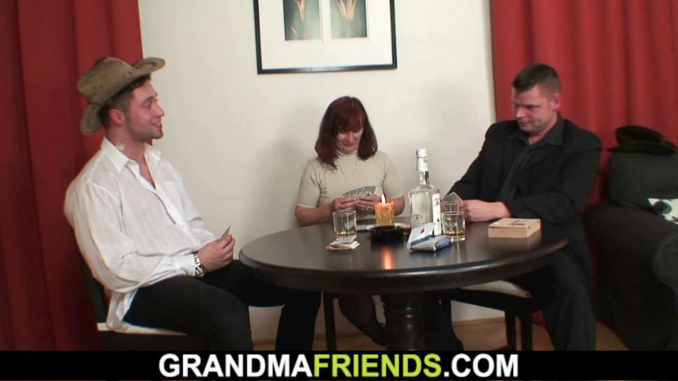GRANDMA FRIENDS - Sexy grandma gets double teamed