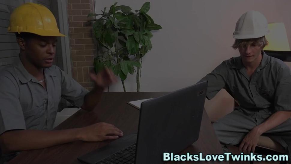 Twink sucking black cock and fucking