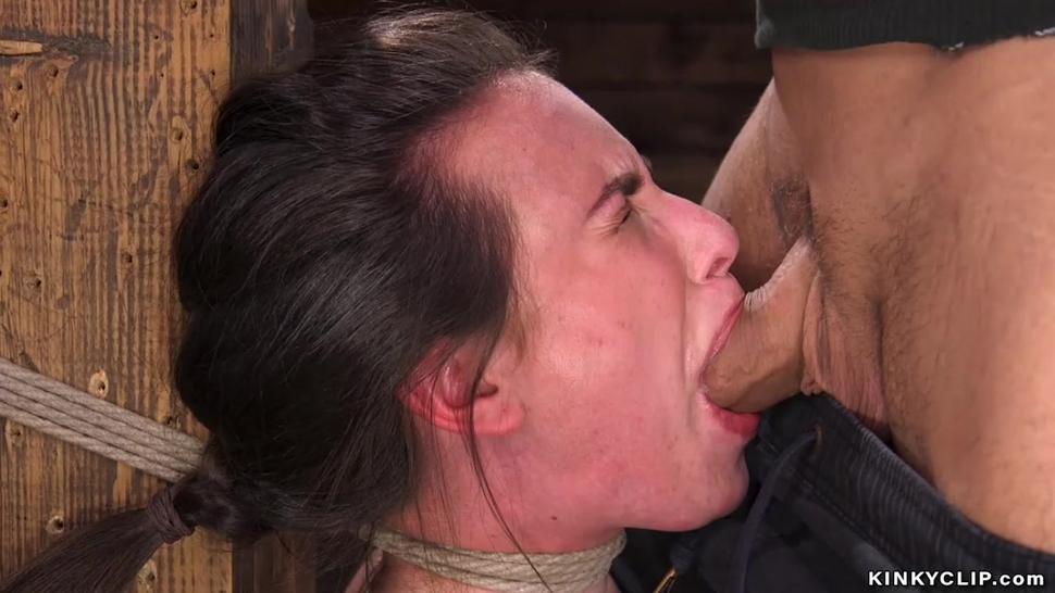 Tied neck slave deep throat banged