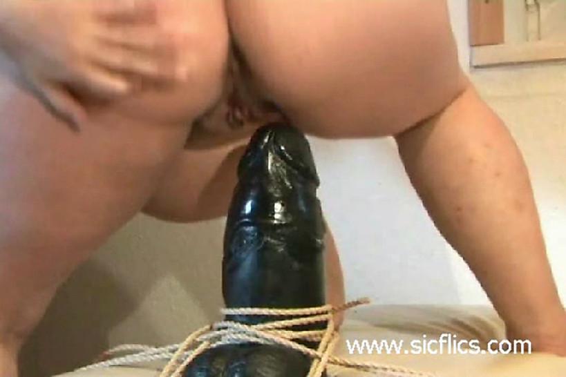 SICFLICS - Heavily pregnant slut fucking a monster dildo