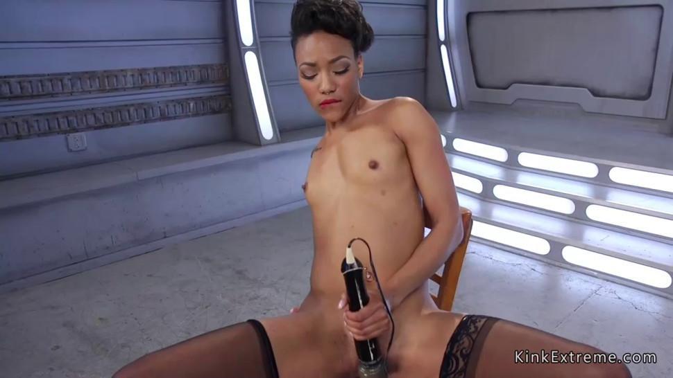 Ebony in stockings fucks huge dildo machine
