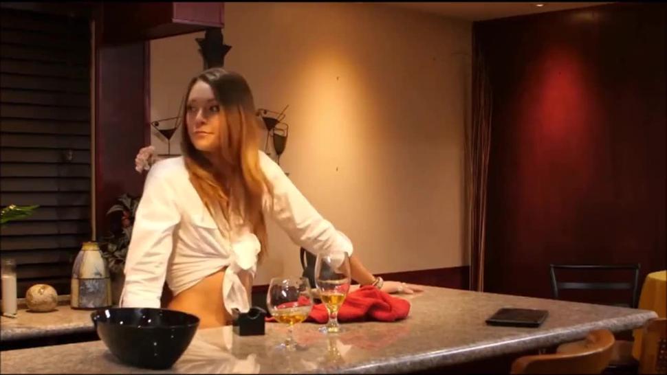 Sophia Grace BLOWJOB UNDER TABLE - waitress sucking dick under the table