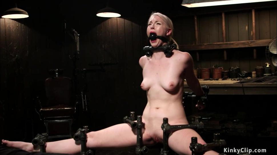 Chained blonde slave riding Sybian