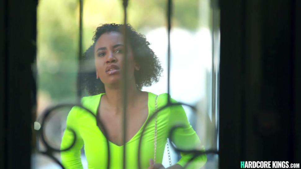 Ebony in interracial threesome fantasy