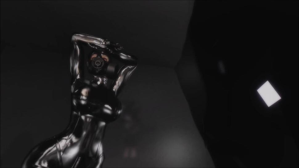 3d girl pose testing/sound effect testing in latex and gas mask