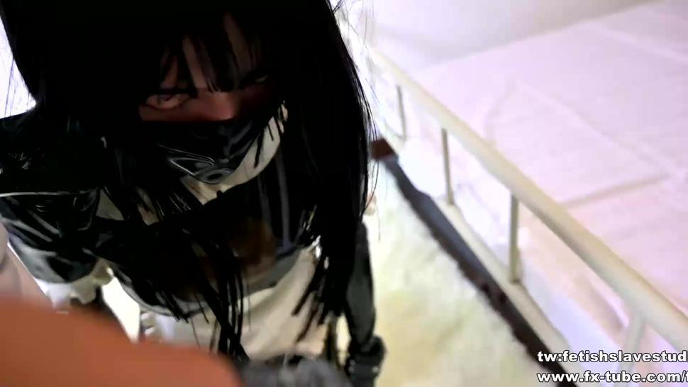 fx-tube com/fss Asian lovely maid bondage and hood breathplay