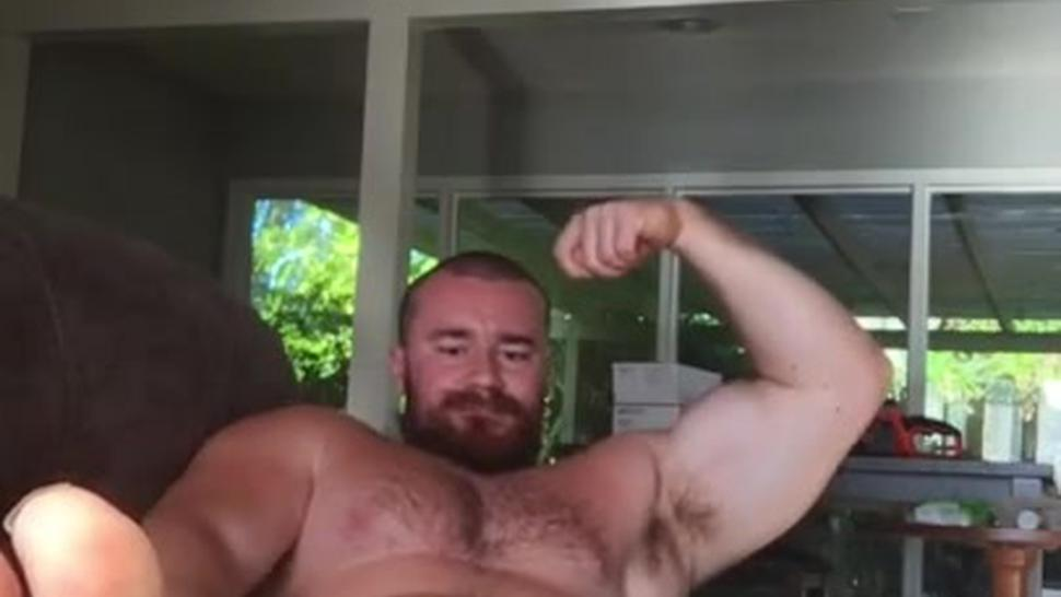 Huge Cock Bodybuilder Flex And Jerk Off On Couch. Hot Alpha Musclebear Sexy