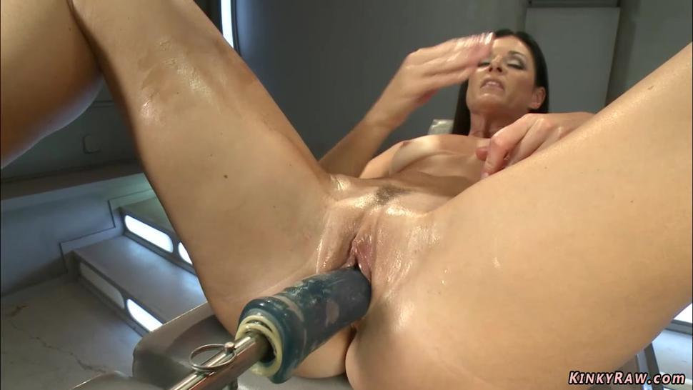 Brunette MILF anal fucked by machine