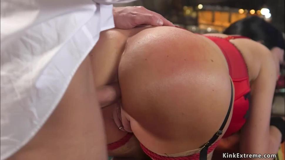 Fake huge tits MILF in anal bondage