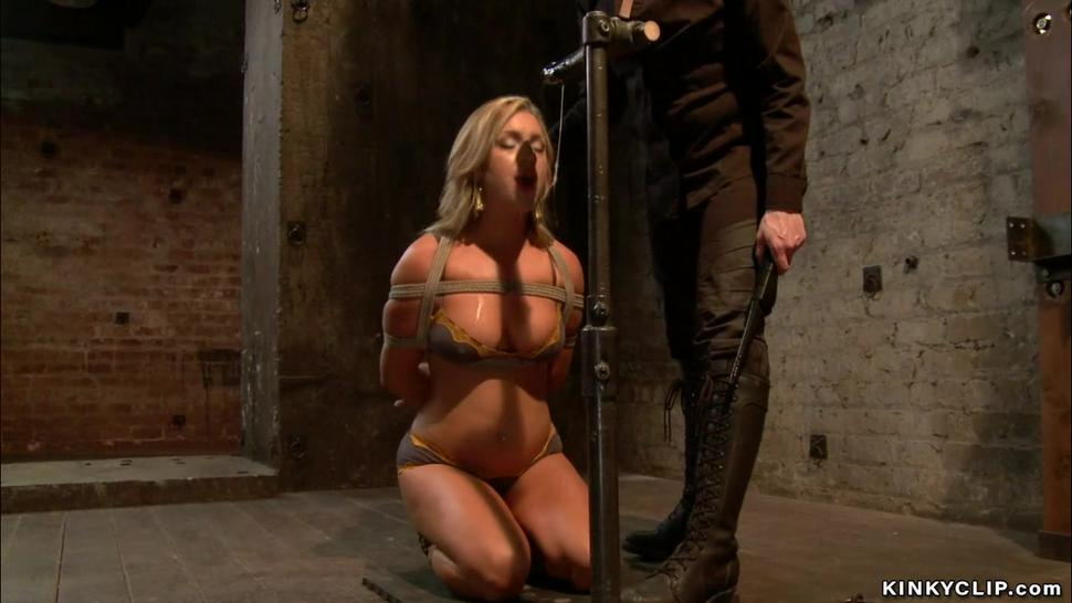 Oiled bound blonde fisted on hogtie