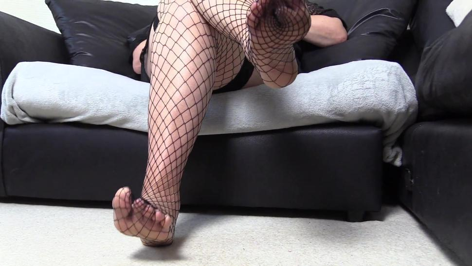 Horny Mature Close-up Fishnet Foot Fetish