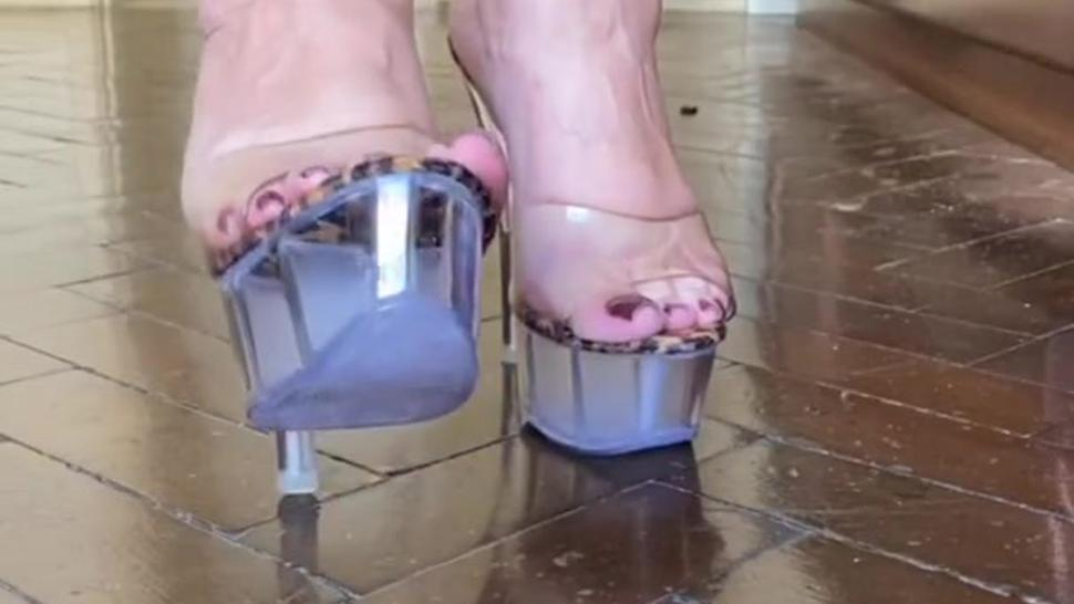 Hot BBW JOI wearing transparent heels