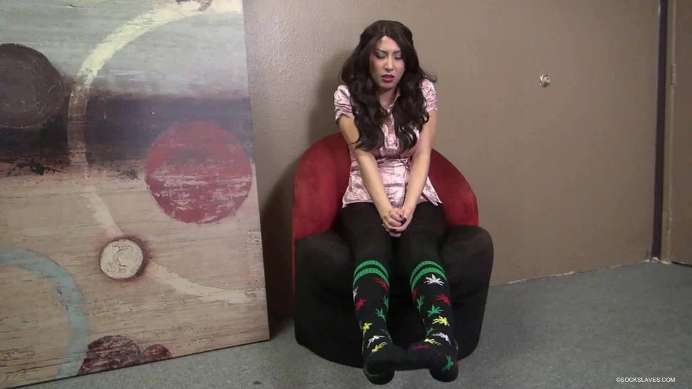 Mistress socks feet worship slave