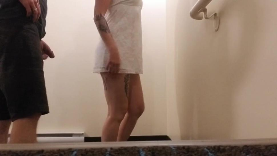 Tattooed slut gets fucked in a public stairwell