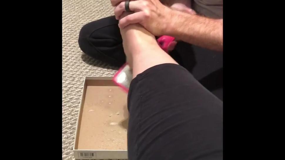 Teen cuck eats foot skin and toenails from his mistress