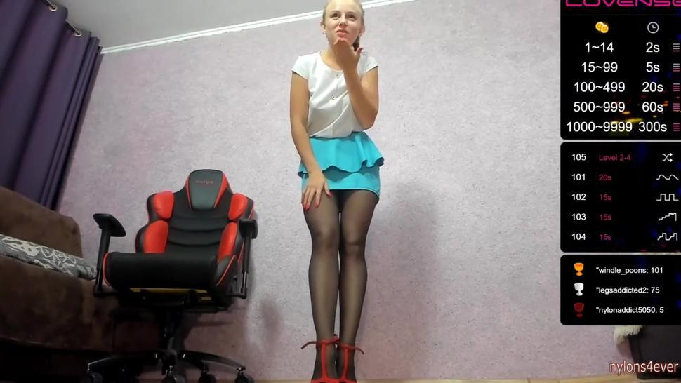 Mini skirt, stockings and high heels