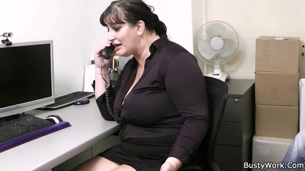 BUSTY WORK - Busty secretary in pantyhose rides boss cock