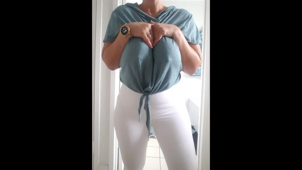 Mature Milf with huge Double H boobs loves to have her big boobs fucked and have cum shot over them