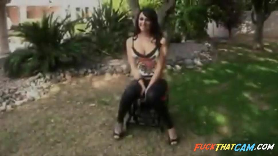 Busty babe rides the Monkey Rocker