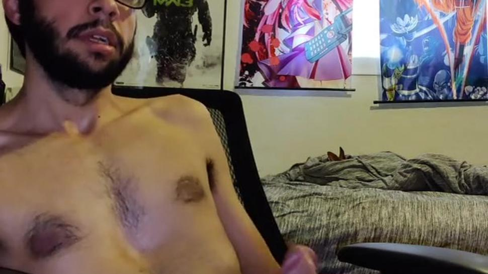 Sexy Hairy Male Cums on himself