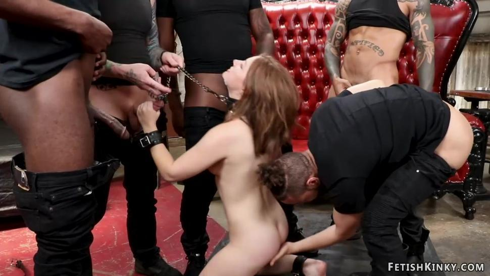 Small tits bound babe group banged