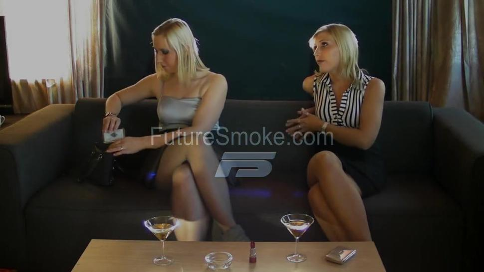 Two amazing young blonde beauties smoking sexy
