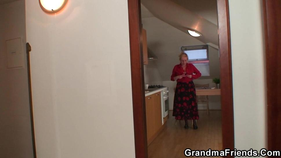 GRANDMA FRIENDS - Bit tits old grandmother spreads legs for two men