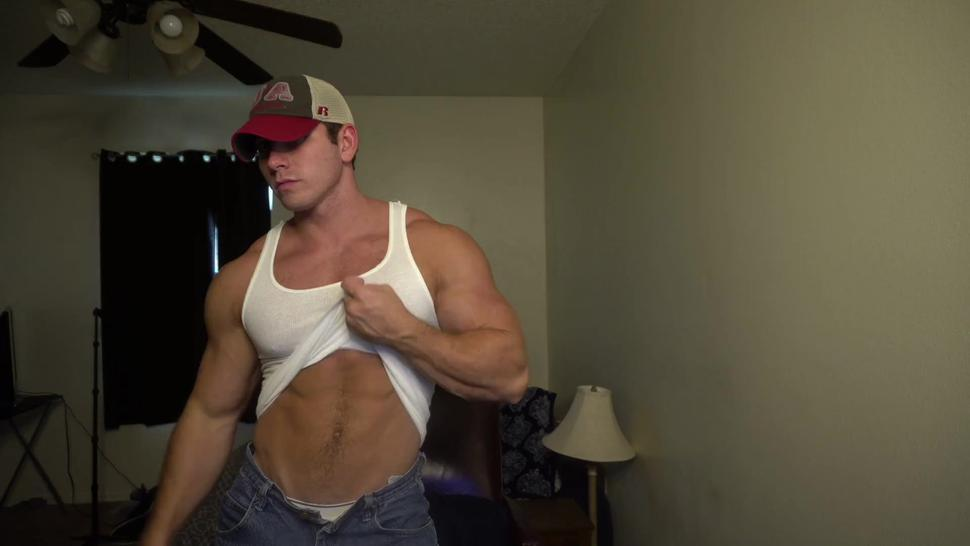 daddy showing off his muscles