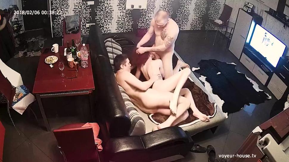 Redhead Horny Teen In Rough Group Sex Orgy Threesome Ffm