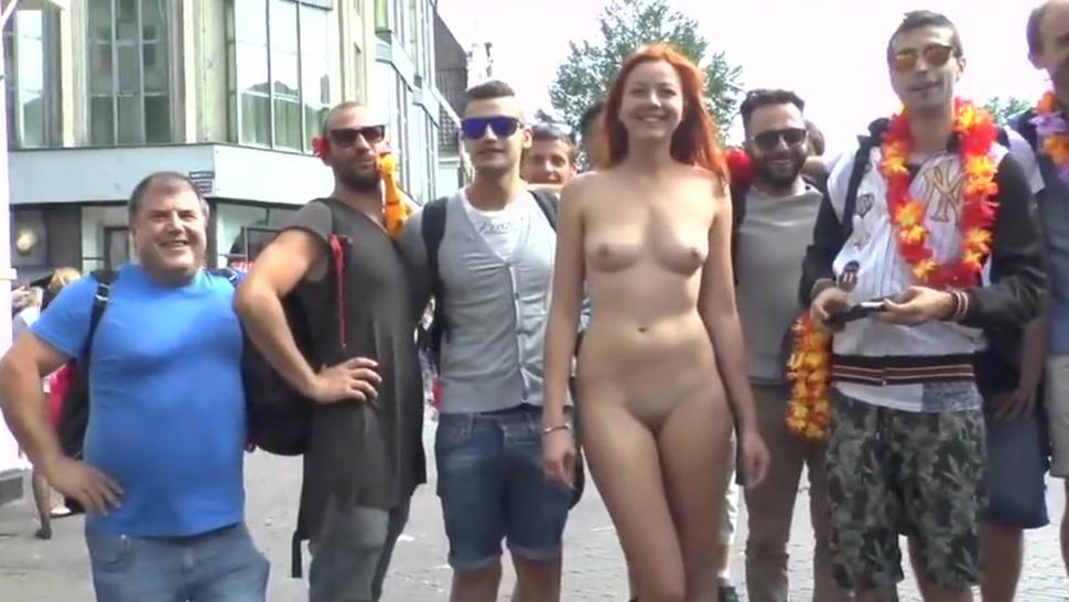 beautiful naked girl at street -cmnf