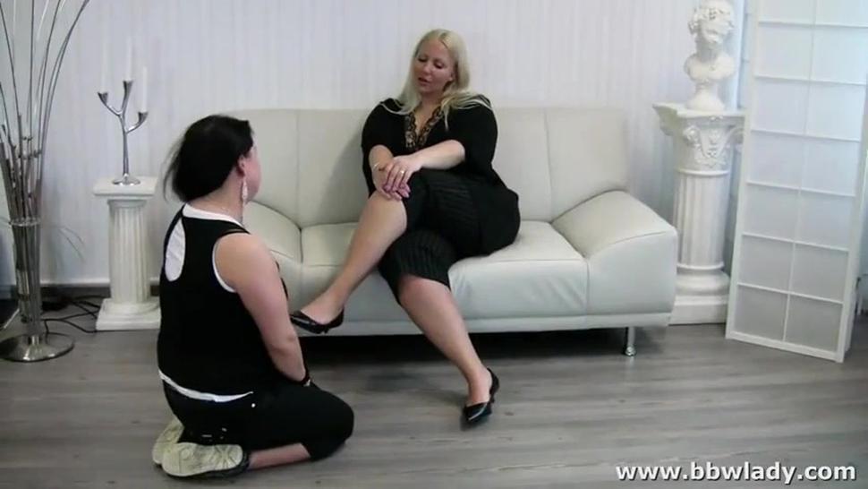 Bbw mistress humiliate a couple - feet worship - footstool
