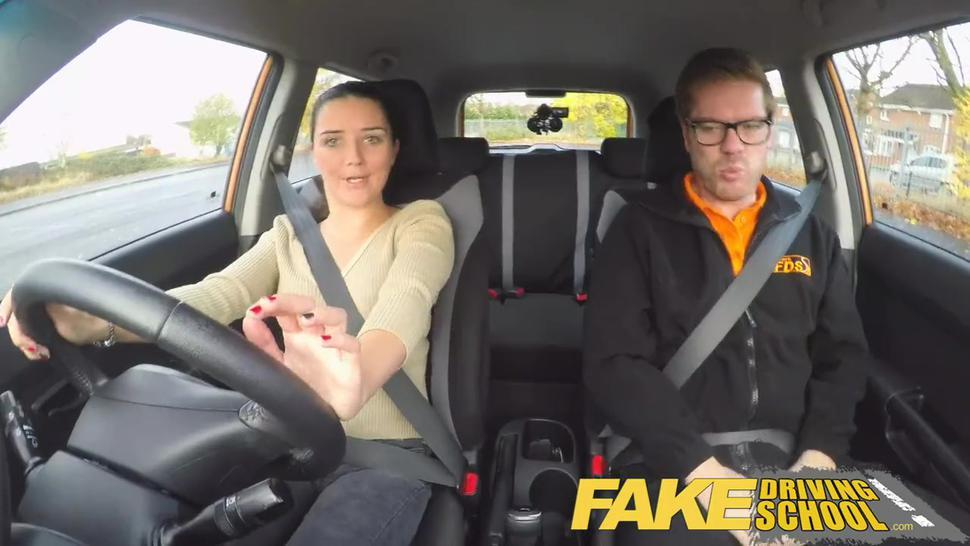 Fake Driving School lesson ends in suprise squirting orgasm and creampie