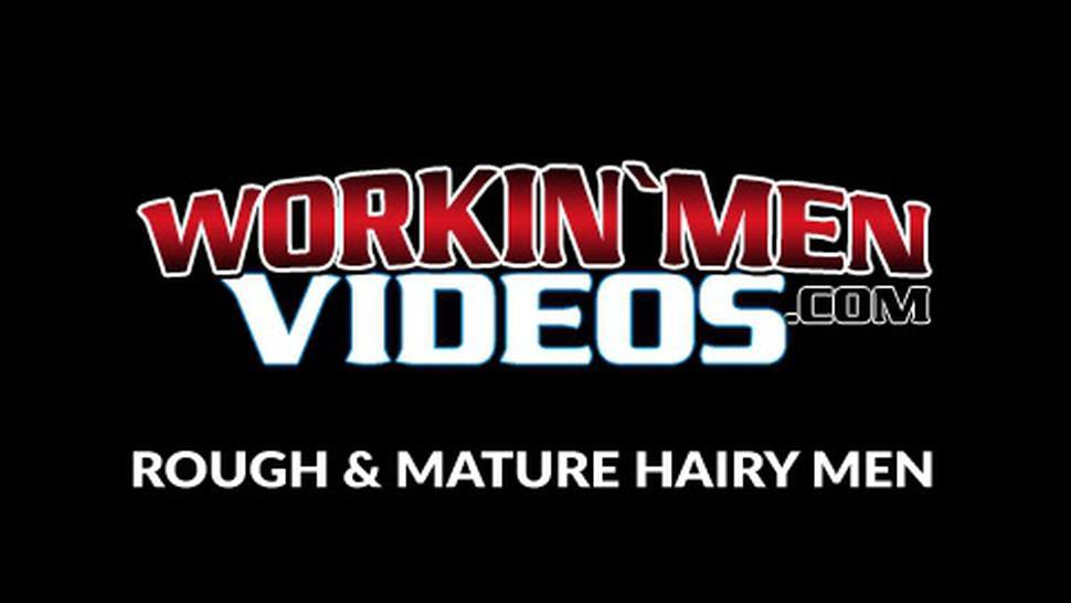 WORKIN MEN VIDEOS - Fat mature amateur jerks his small cock and cums solo