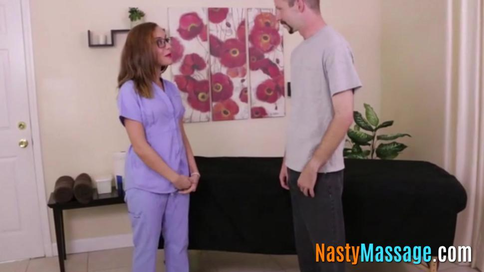 Nasty masseuse ruins her clients orgasm