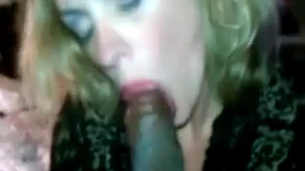 Shes actually getting high from sucking that monster cock