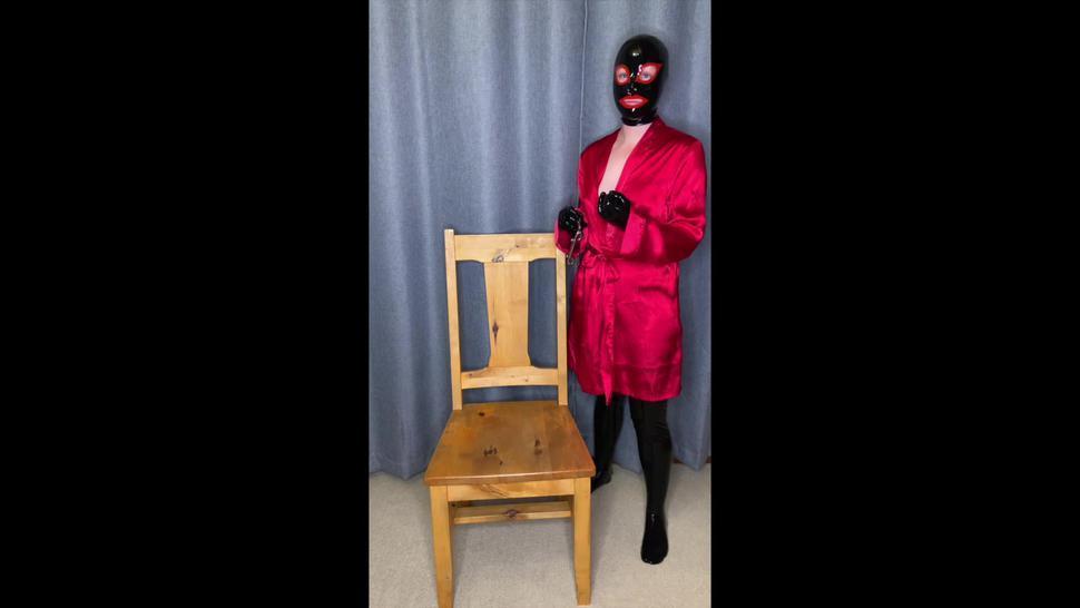 Latex chair bondage and fucking