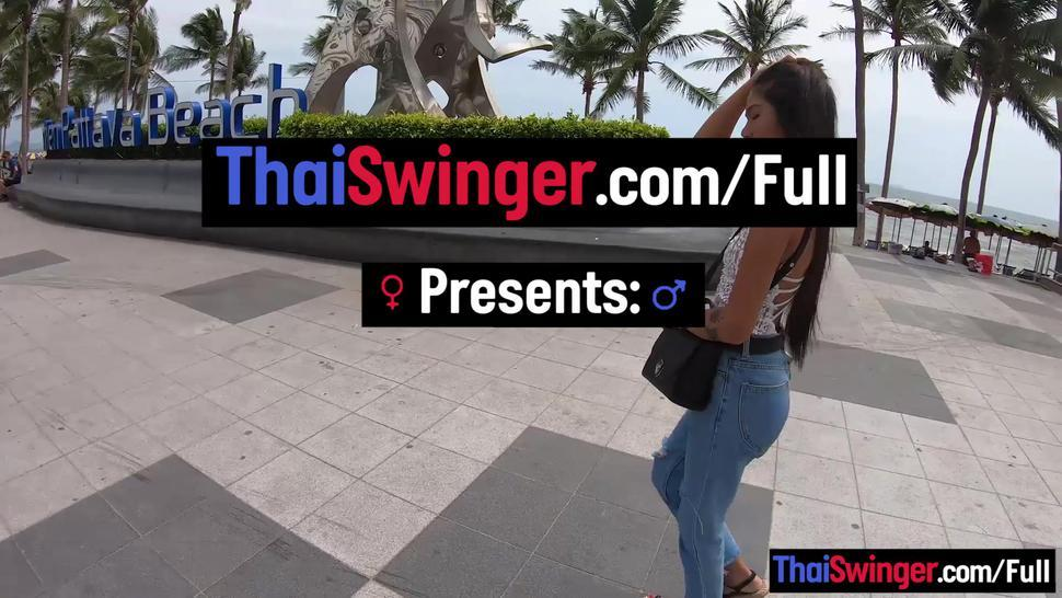 THAI SWINGER - Rough sex with petite Thai amateur teen girlfriend who liked it hard