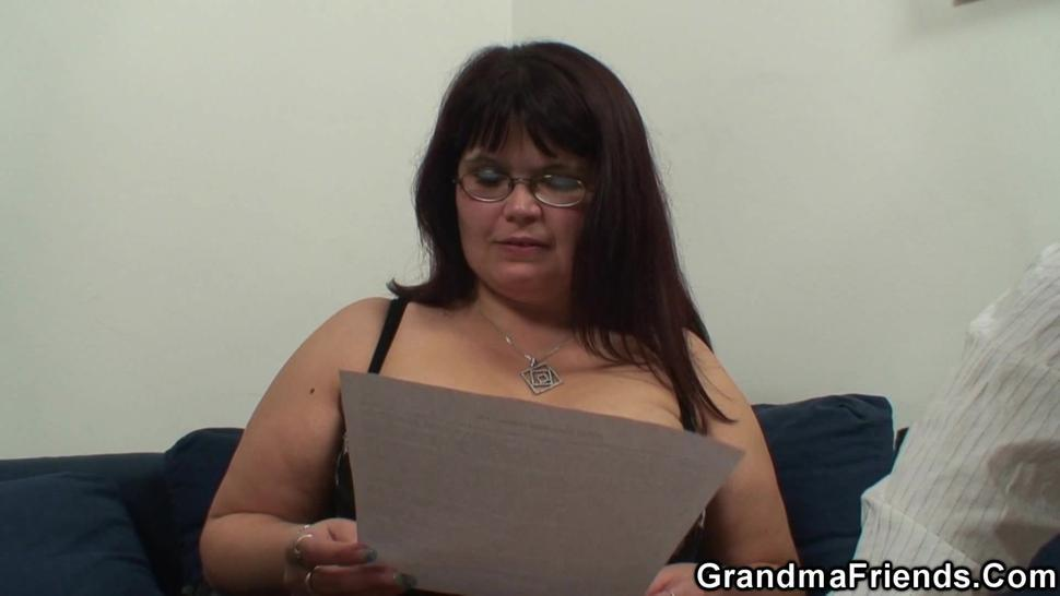 GRANDMA FRIENDS - Two dudes share huge tits chubby mommy