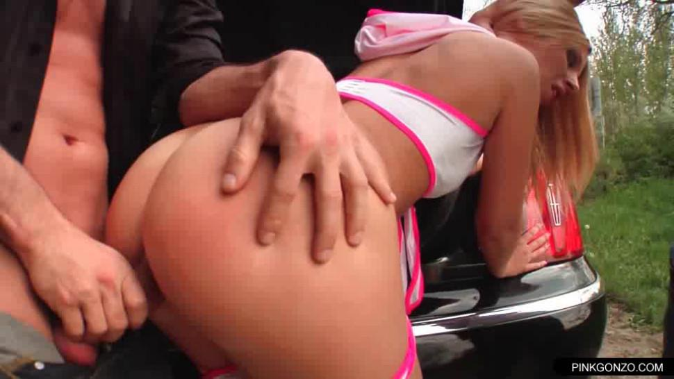 Street whore banged hardly anal by the car trunk threesome